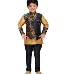 Gold woven raw silk boys kurta pyjama