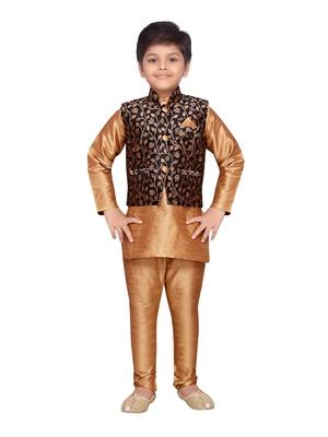 Gold woven raw silk boys kurta pyjama with black nehru jacket