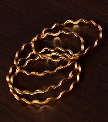 Zig Zag Gold Plated 2 Pairs of Glossy Plain Bangles