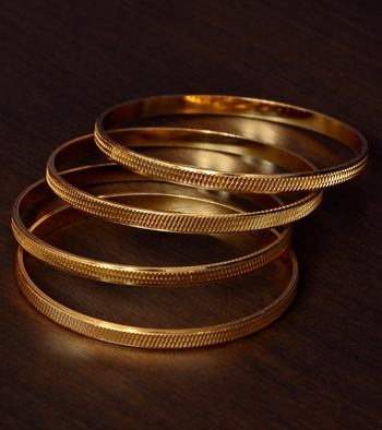 Two Pairs of Gold Plated Glossy Bangles for Women