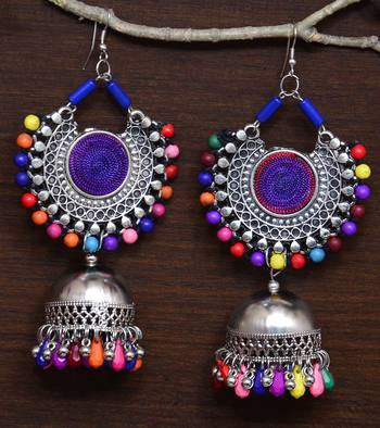 Silver Oxidised Feather Worked Afghani Chandbali with Jhumka