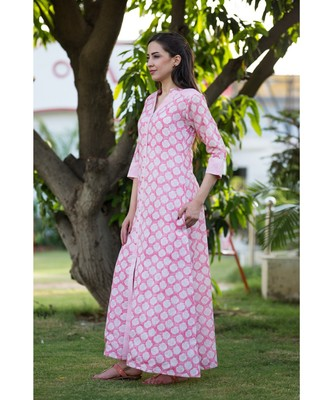 pink printed cotton dresses
