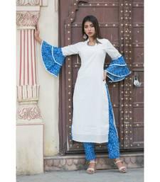 off white printed cotton kurti