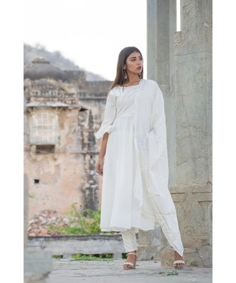 off white printed cotton kurti