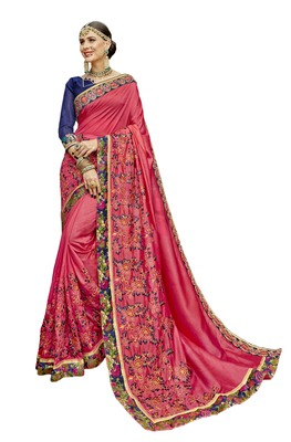 Beige embroidered organza saree with blouse