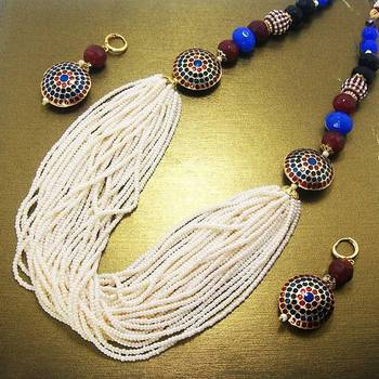 Antique Chid Necklace Peacock Blue Maroon