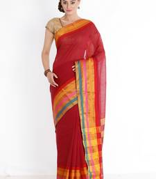 CLASSICATE from the house of The Chennai Silks Women's Red Chettinad Cotton Silk Saree With Blouse Piece