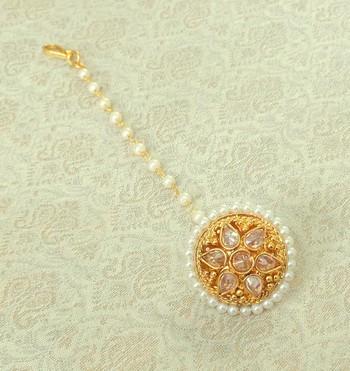 Lalso Designer LCT Golden AD Zircon Pearl Gold plated Borla Maangtikka Jewelry for Wedding , Festival - LADBOR01