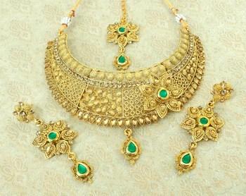 Lalso Beautiful Green Kundan Delicate Choker Neckalce Earring Maangtikka Jewelry Necklace Set - LDCN08_GR