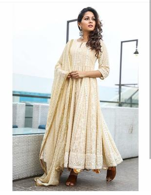 Cream Georgette Semi-stitched Anarkali salwar kameez