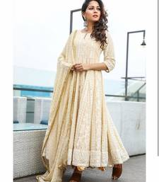 Cream Georgette Semi-stitched Anarkali salwar kameez