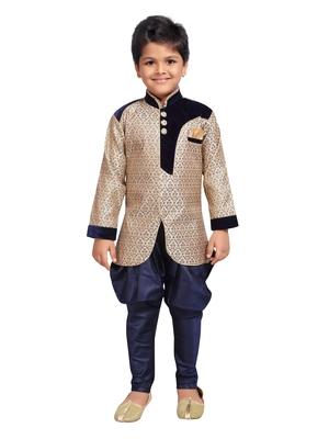 Fawn woven art silk boys sherwani