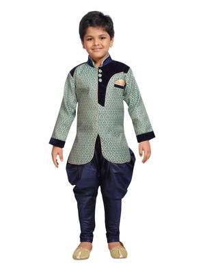 Green woven art silk boys sherwani