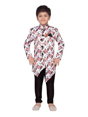 White printed silk blend boys sherwani