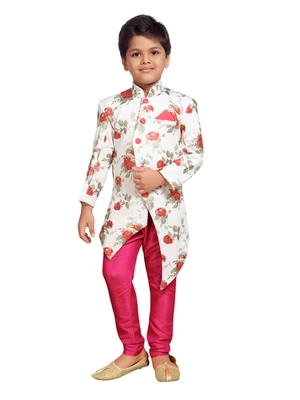 White printed silk blend boys sherwani