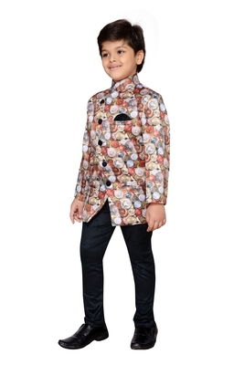 Multicolor printed satin boys indo western dress