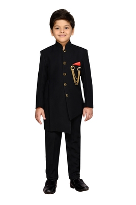 Black plain silk blend boys indo western dress