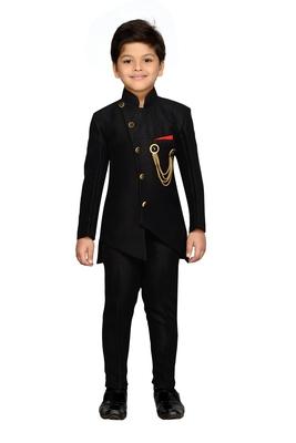 Black plain silk blend boys indo western dress