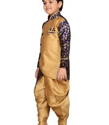 Blue woven silk blend boys indo western dress