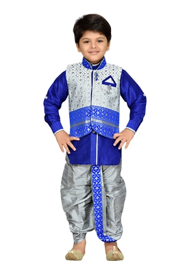 Grey woven cotton boys kurta pyjama