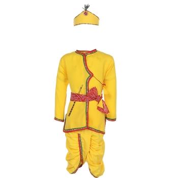 Yellow plain cotton boys kurta pyjama