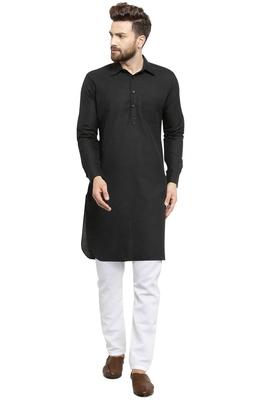 Designer Black Pathani Lenin Kurta Pajama