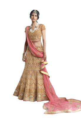 Golden Mirror Net Semi Stitched Lehenga With Dupatta