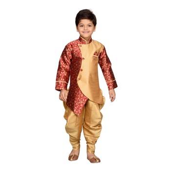 Maroon woven silk blend boys indo western dress