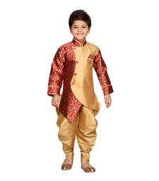 Maroon woven silk blend boys indo western dress