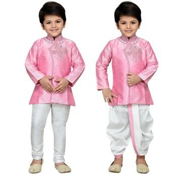Pink embroidered cotton boys-kurta-pyjama
