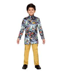 Multicolor printed satin boys indo western dress