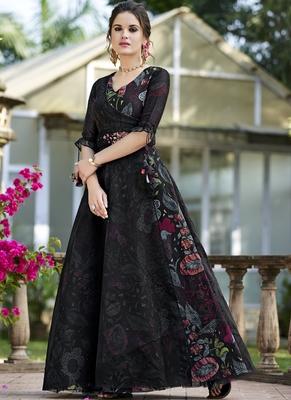 Black woven organza salwar