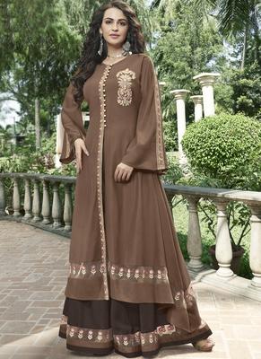 Brown woven silk salwar