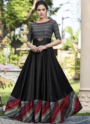 Black Woven Satin Salwar