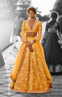 Mustard embroidered thai silk unstitched lehenga with dupatta