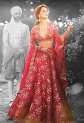 Red Embroidered Thai Silk Unstitched Lehenga With Dupatta