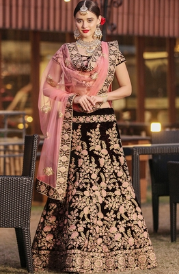 Maroon Thread Embroidered Velvet Unstitched Lehenga With Dupatta