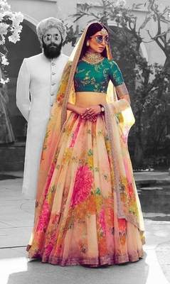 Floral Embroidered Organza Unstitched Lehenga With Dupatta