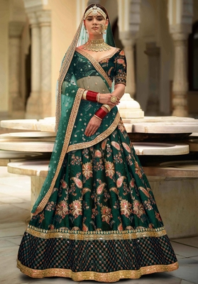 Green Thread embroidered silk unstitched lehenga with dupatta