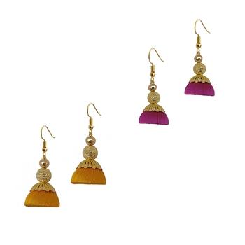 Multicolor combo silk thread earrings