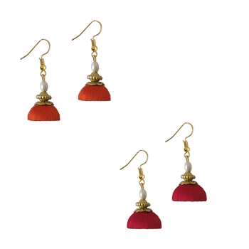 Multicolor combo silk thread earrings