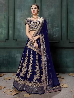 Navy Blue Dori & Sequins Embroidered Silk Semi stitched Lehenga