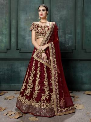 Maroon embroidered silk unstitched lehenga