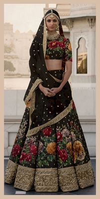 Black Pearl, Dori and Sequins Embroidered Art Silk Semi Stitched Lehenga