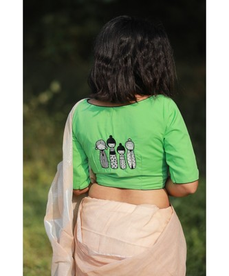 GREEN embroidered blended cotton readymade blouse