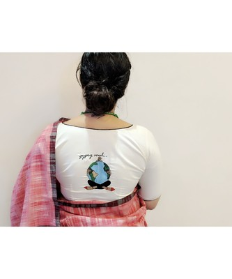 OFF WHITE embroidered blended cotton readymade blouse