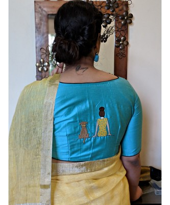 turquoise embroidered cotton silk readymade blouse