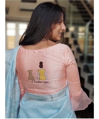 PEACH embroidered cotton silk readymade blouse