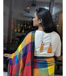 WHITE embroidered blended cotton readymade blouse