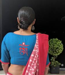 BLUE embroidered handloom cotton readymade blouse